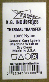 Barcode serialization variable data thermal nylon care label.