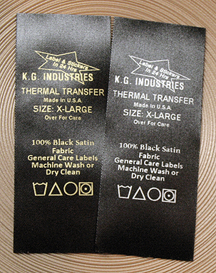 Gold or silver ribbon print on black satin thermal transfer label tape. Good labels for care and general home laundering and dry cleaning.