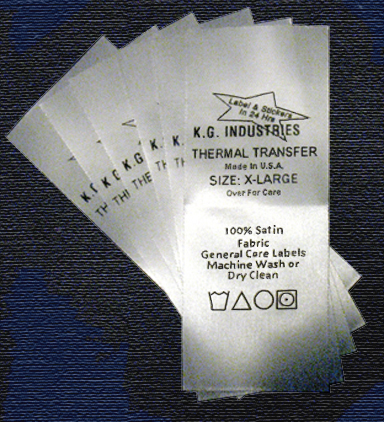 We print satin thermal transfer care labels for general home laundering and dry cleaning.