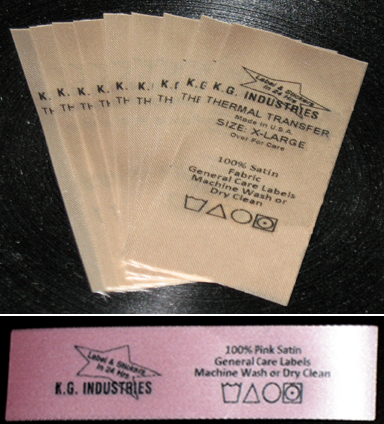 Tan or pink care label color satin thermal transfer tape printed with black resin ribbon.