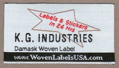 Woven damask satin taffeta acetate label.