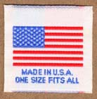 Made in USA with USA flag and one size fits all.