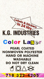 Color laser pearl coated non woven care label example: 1.25 by 2.