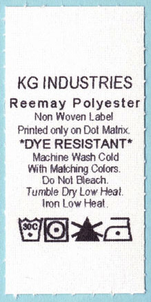 Dye and heat resistant reemay.