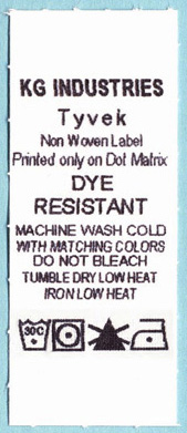 Tyvek care label